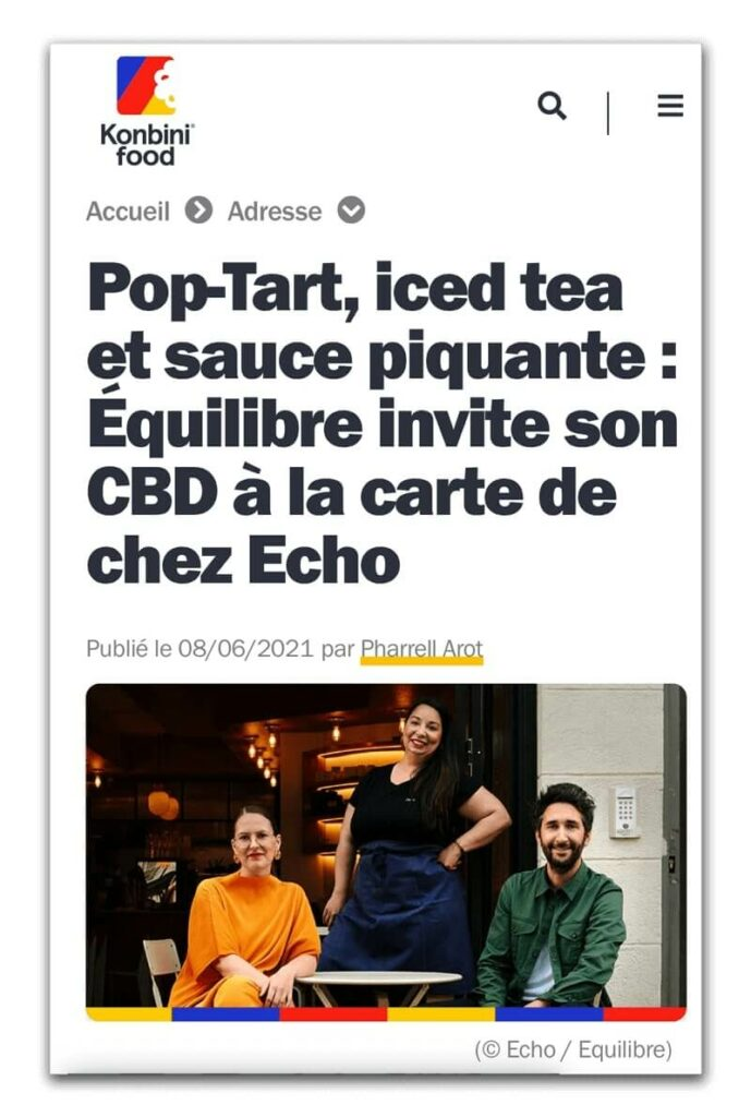 Article Konbini sur la collaboration entre le restaurant Echo et Equilibre CBD