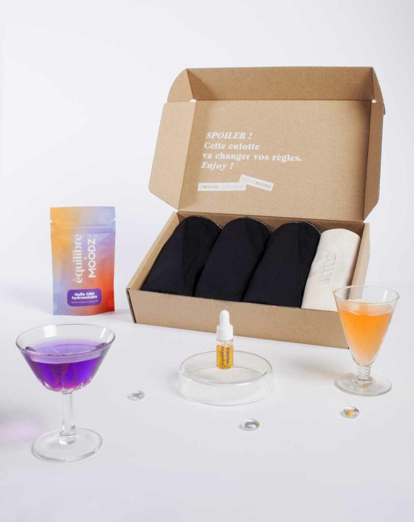 Pack biggy chill MOODZ de culottes menstruelles huile de CBD hydrosoluble