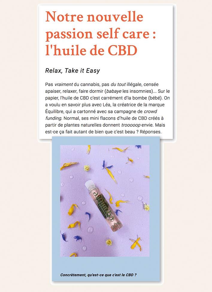 Interview dans le magazine TAPAGE de Léa Ruellan la fondatrice de Equilibre CBD, des huiles de CBD made in France