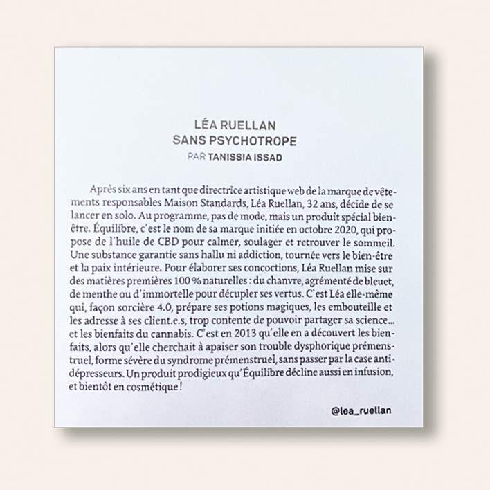 Paulette Magazine, extrait de l'interview de Léa Ruellan, fondatrice de Equilibre